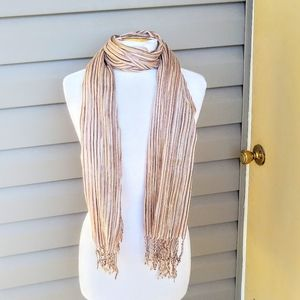New Lux Tan Mixed Woven Striped Fringed Scarf